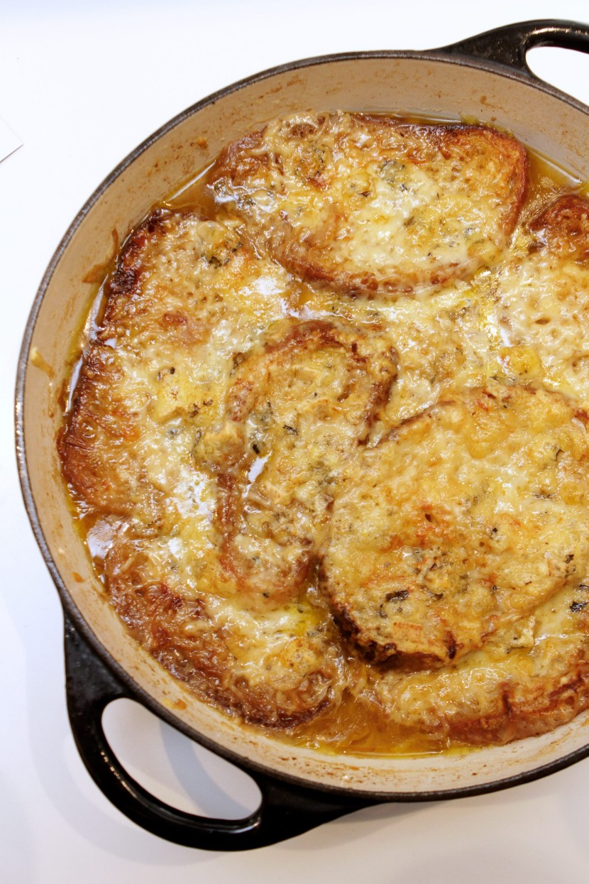 Onion and Asian Garlic Blue Cheese Gratinee