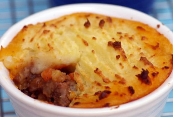 Beef Pot Pie With Mashed Potato Topping.