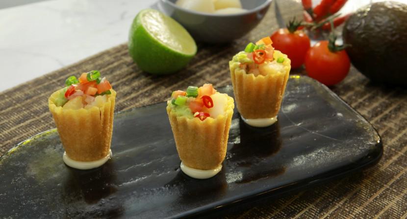 Seared Scallops, Guacamole and Salsa Pie Tee.
