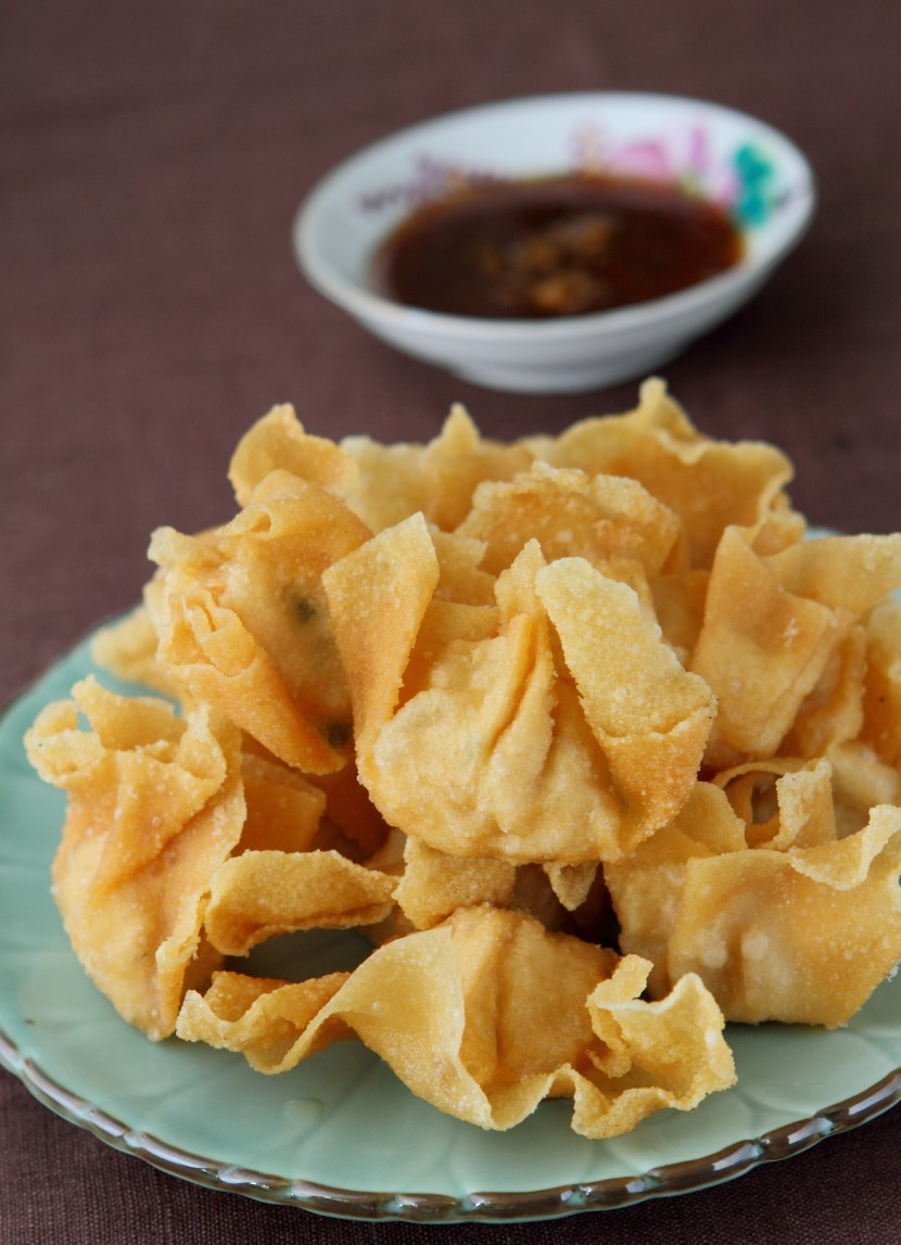 Crispy Wantan with Orange Dipping Sauce.