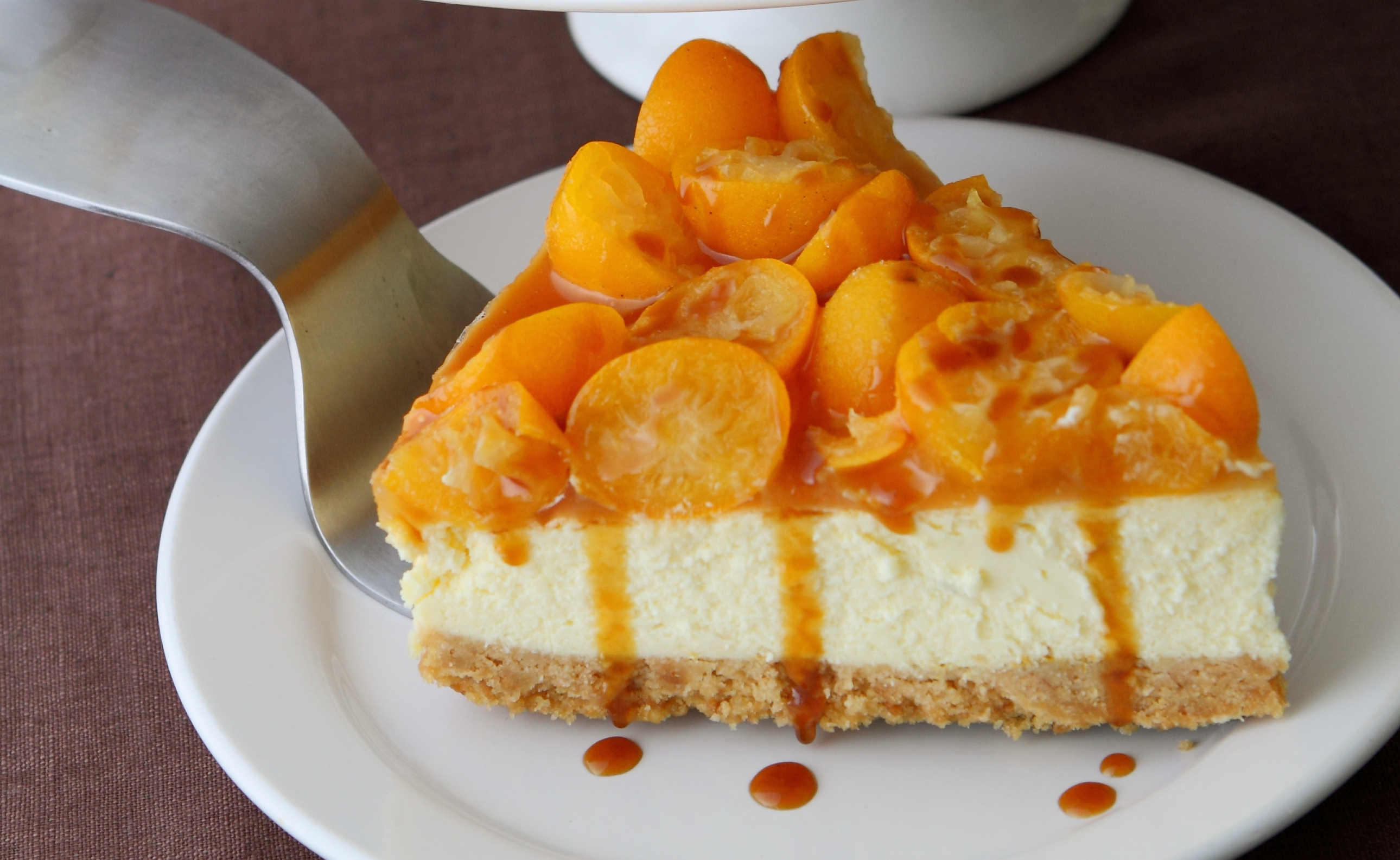 Kumquat Baked Cheesecake with Coconut Caramel