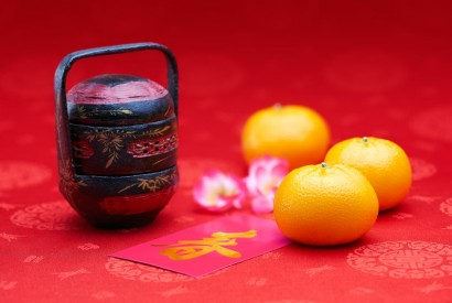 50829569 - chinese new year - mandarin orange and pink packet (foreign text means spring season)