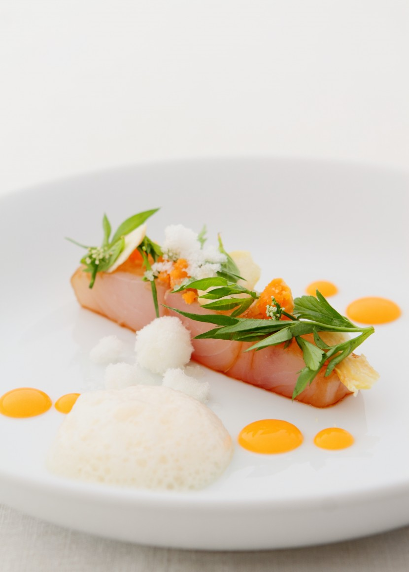 Raw Red Snapper, Tomato & Dried Scallop Gelled Stock with Water Chestnut Snow.