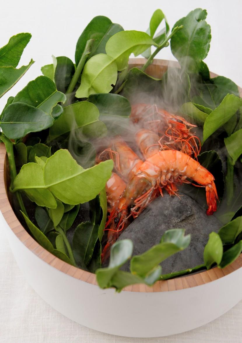 Salt Cooked Tiger Prawns, Curry Leaves Chutney & Pickled Ginger Flower.