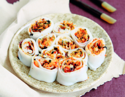 Meat floss rice rolls