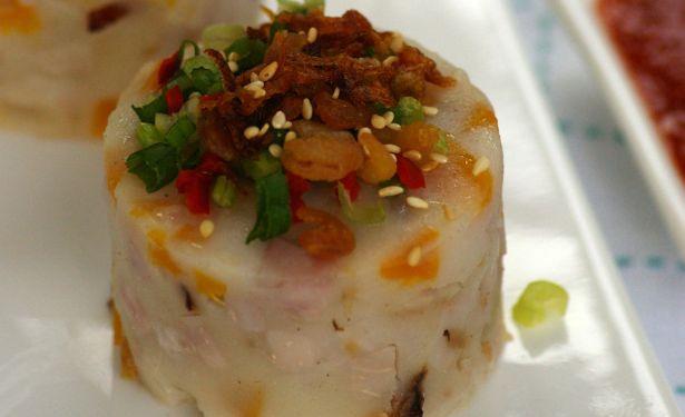 Steamed Pumpkin-Yam Kuih.