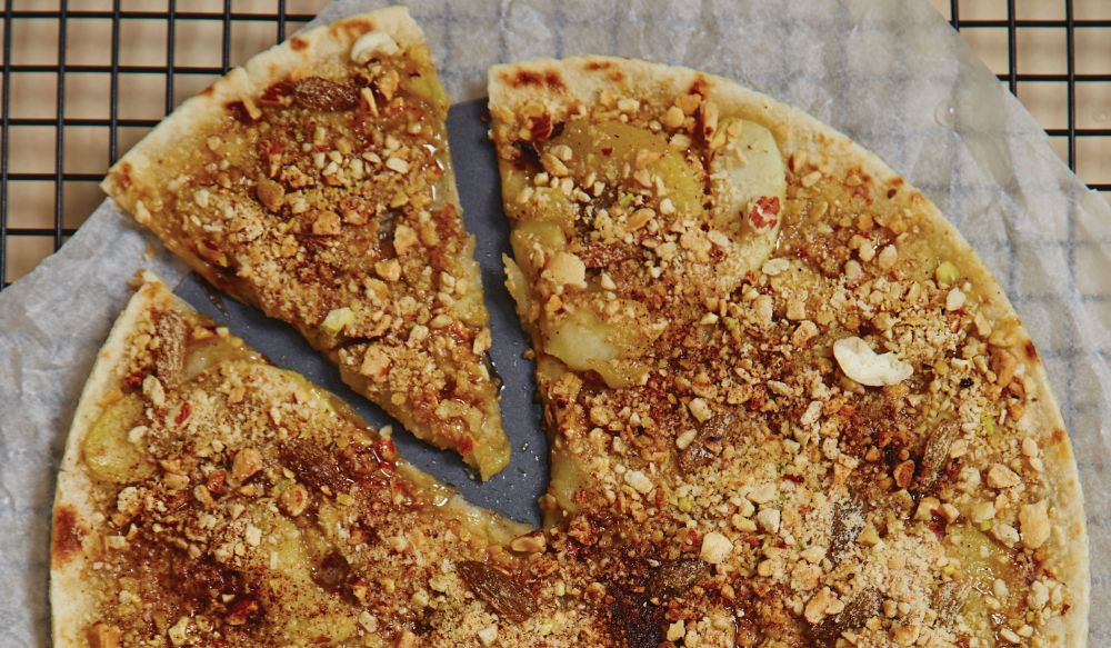 Apple Strudel Pizza with Pecans and Cream Custard