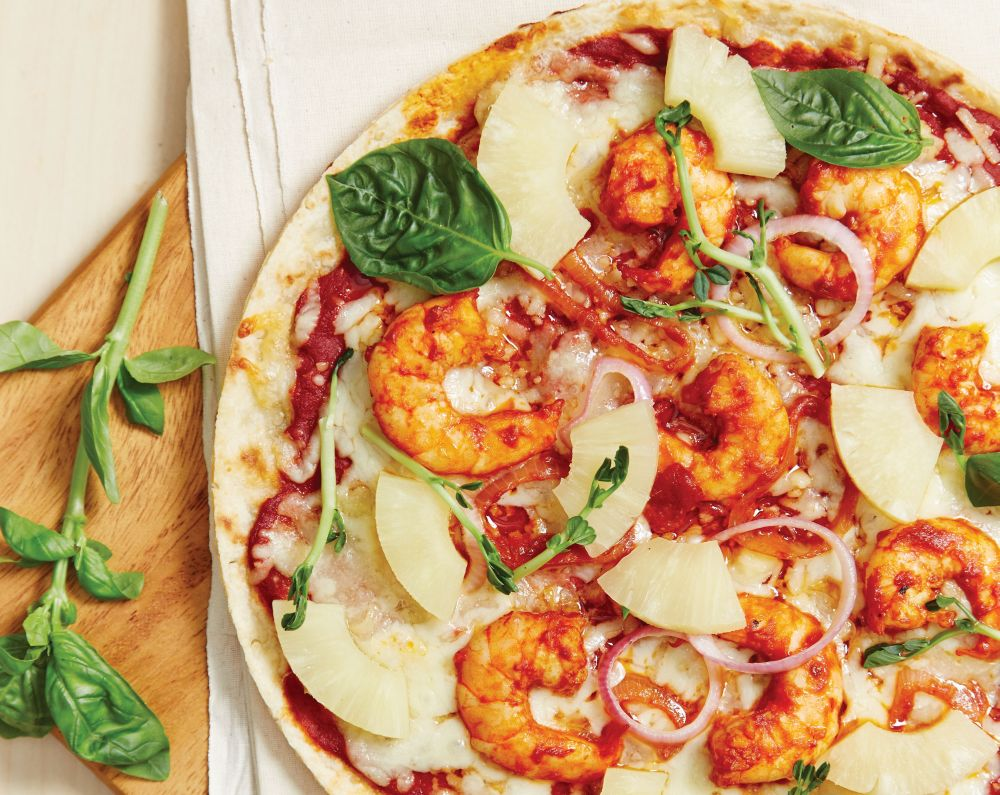 tom yam prawn pizza