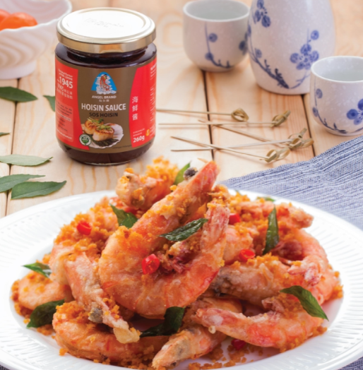 Cantonese Golden Sand Prawn presented by Angel Brand