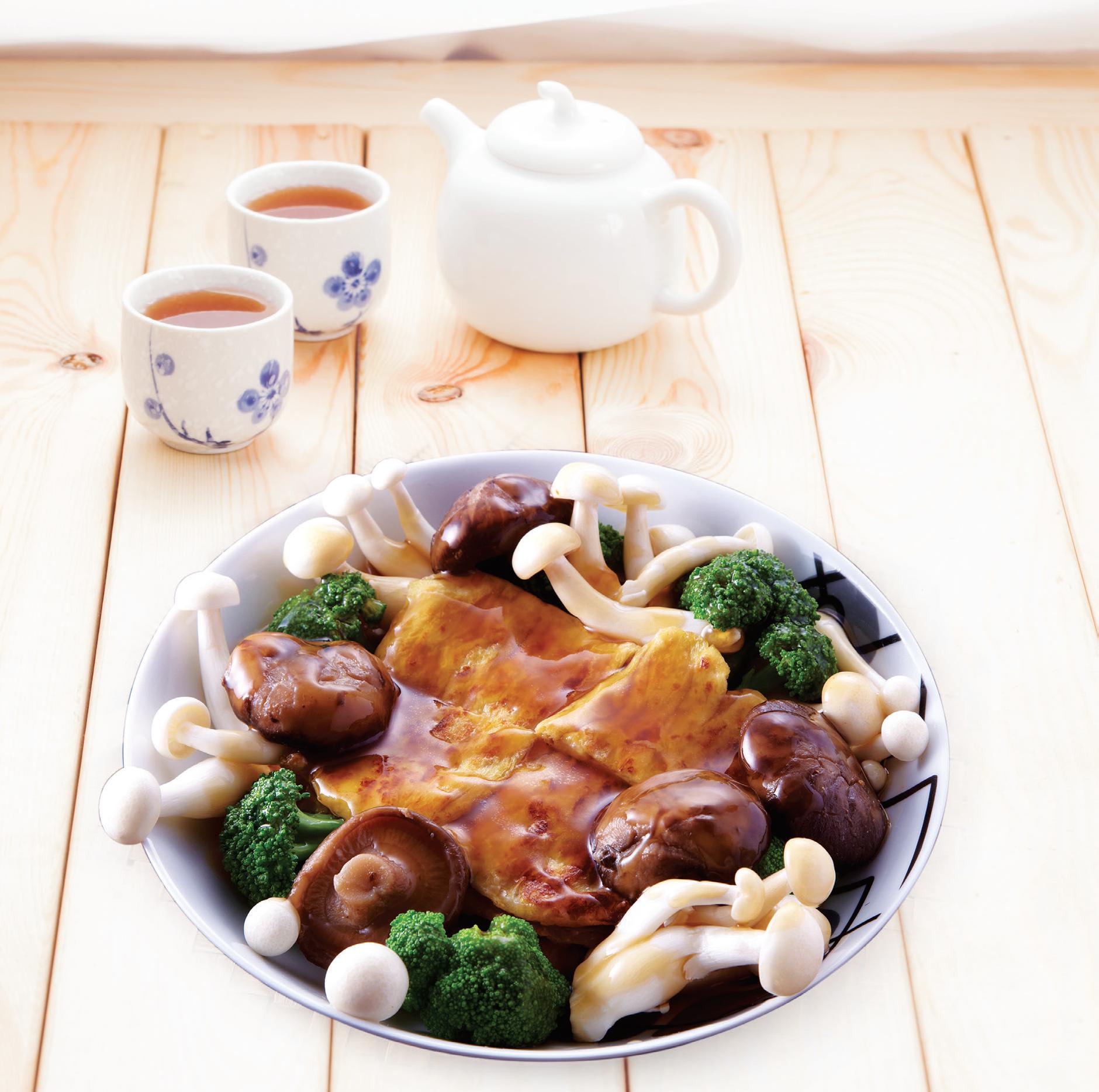 Mushroom vegetables with fried bean curd by Angel Brands