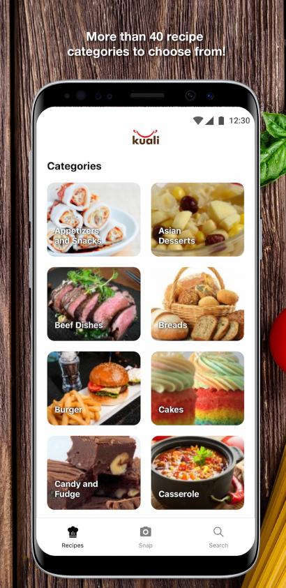 Kuali App Recipe Categories