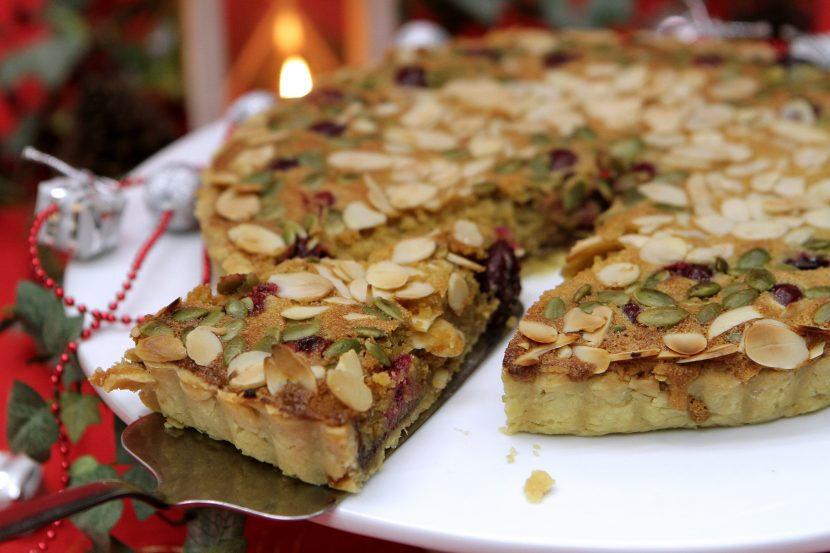 Bakewell tart with cranberries