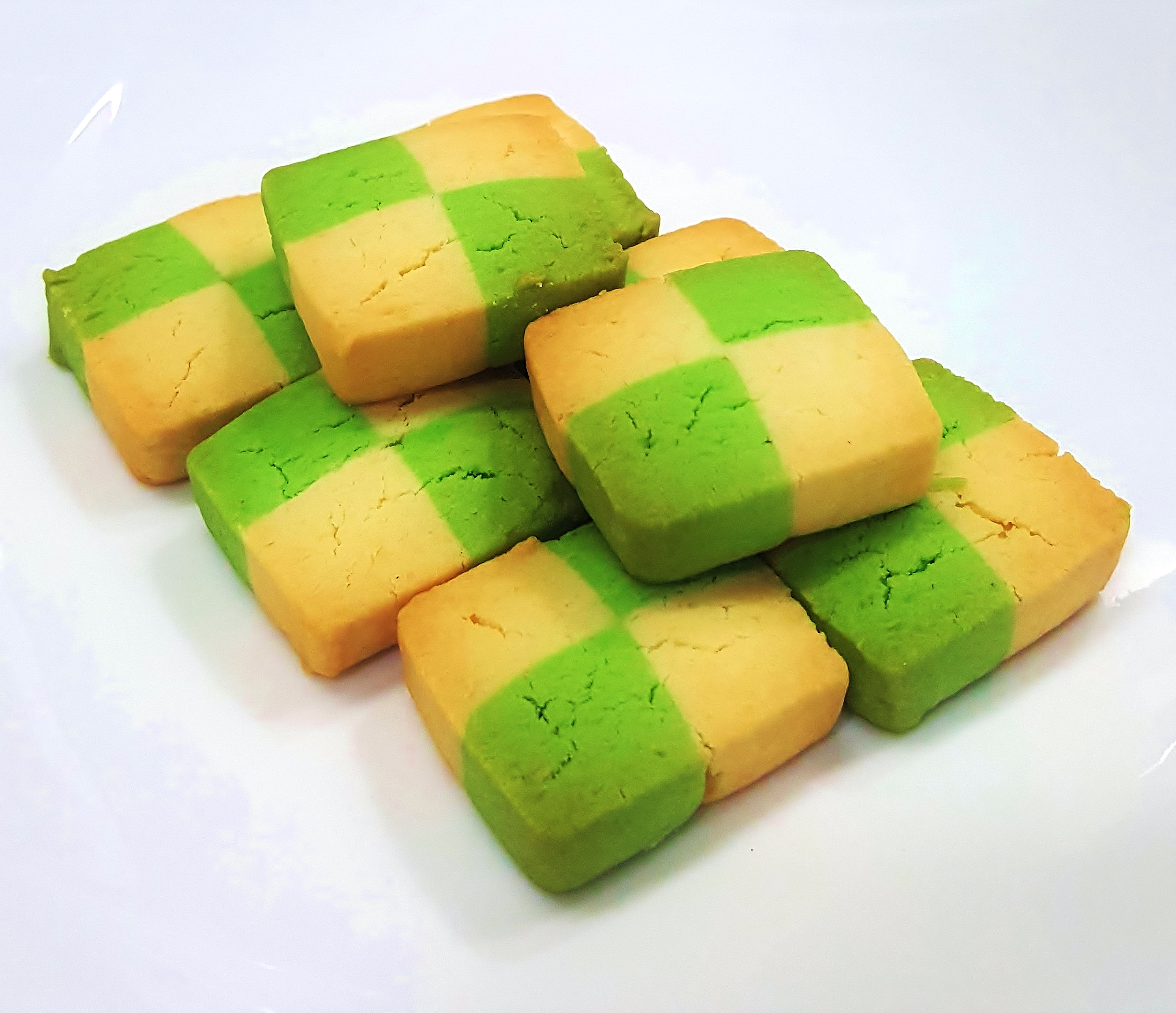 Pandan Checkerboard Cookies.
