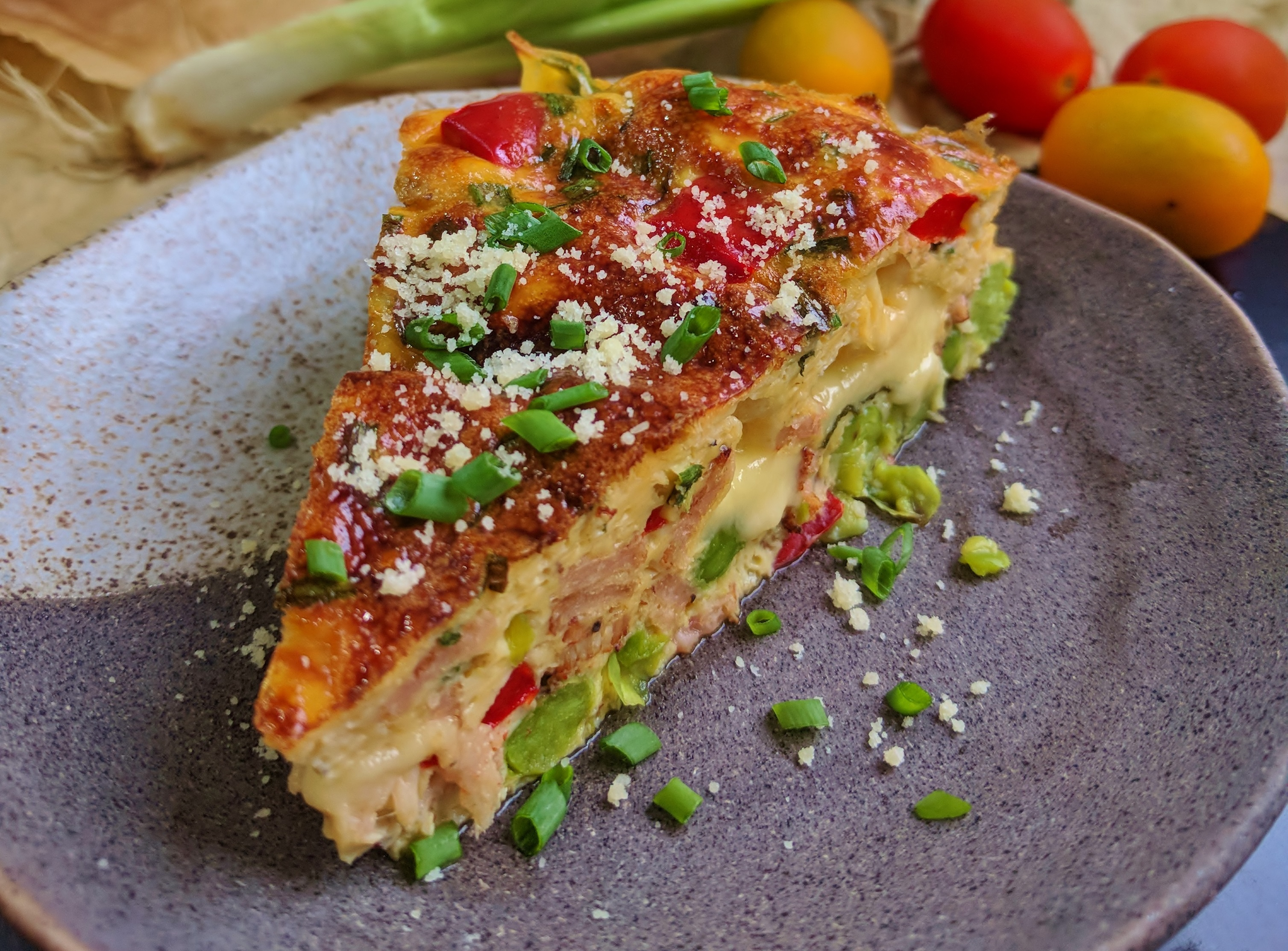 Edam Cheese, Beef Bacon & Vegetable Baked Frittata