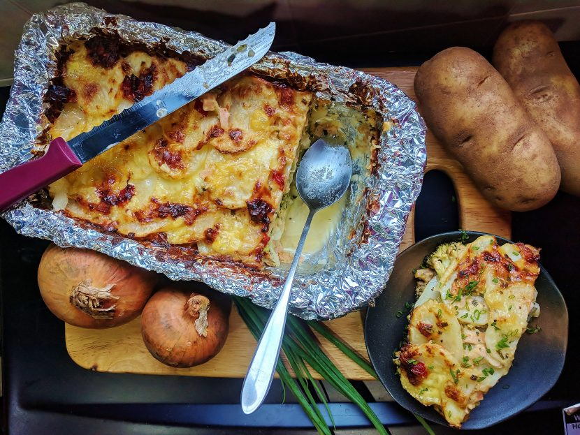 EDAM CHEESE BAKE POTATO AND BROCCOLI