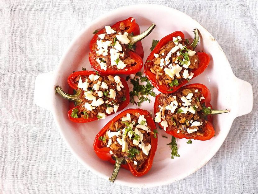 Baked Red Peppers Stuffed With Tuna And Spicy Red Rice