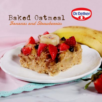Baked-Oatmeal with bananas and strawberries Dr. Oetker Nona