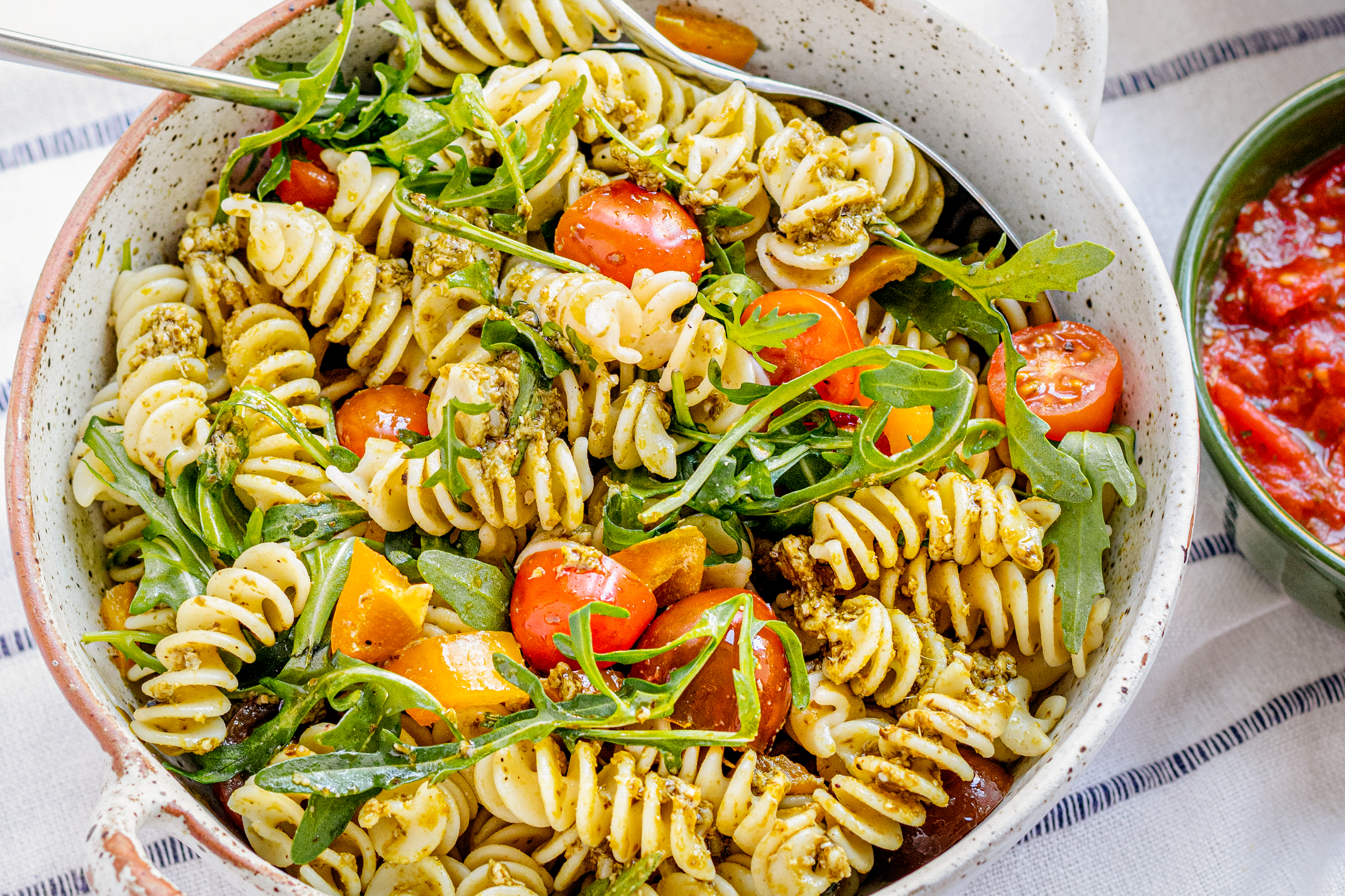 Pesto Fusilli with Cherry Tomatoes