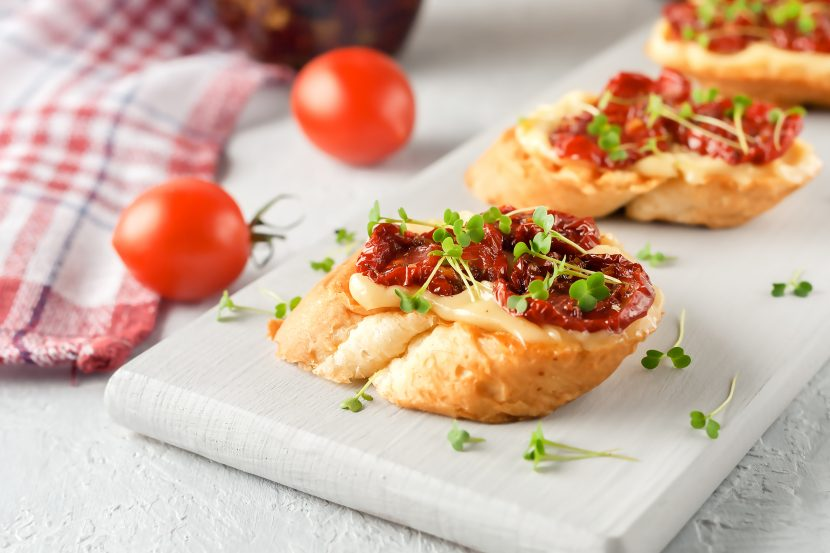 Oven dried tomato bruschetta