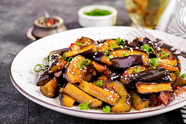 Stir fried long brinjal eggplant
