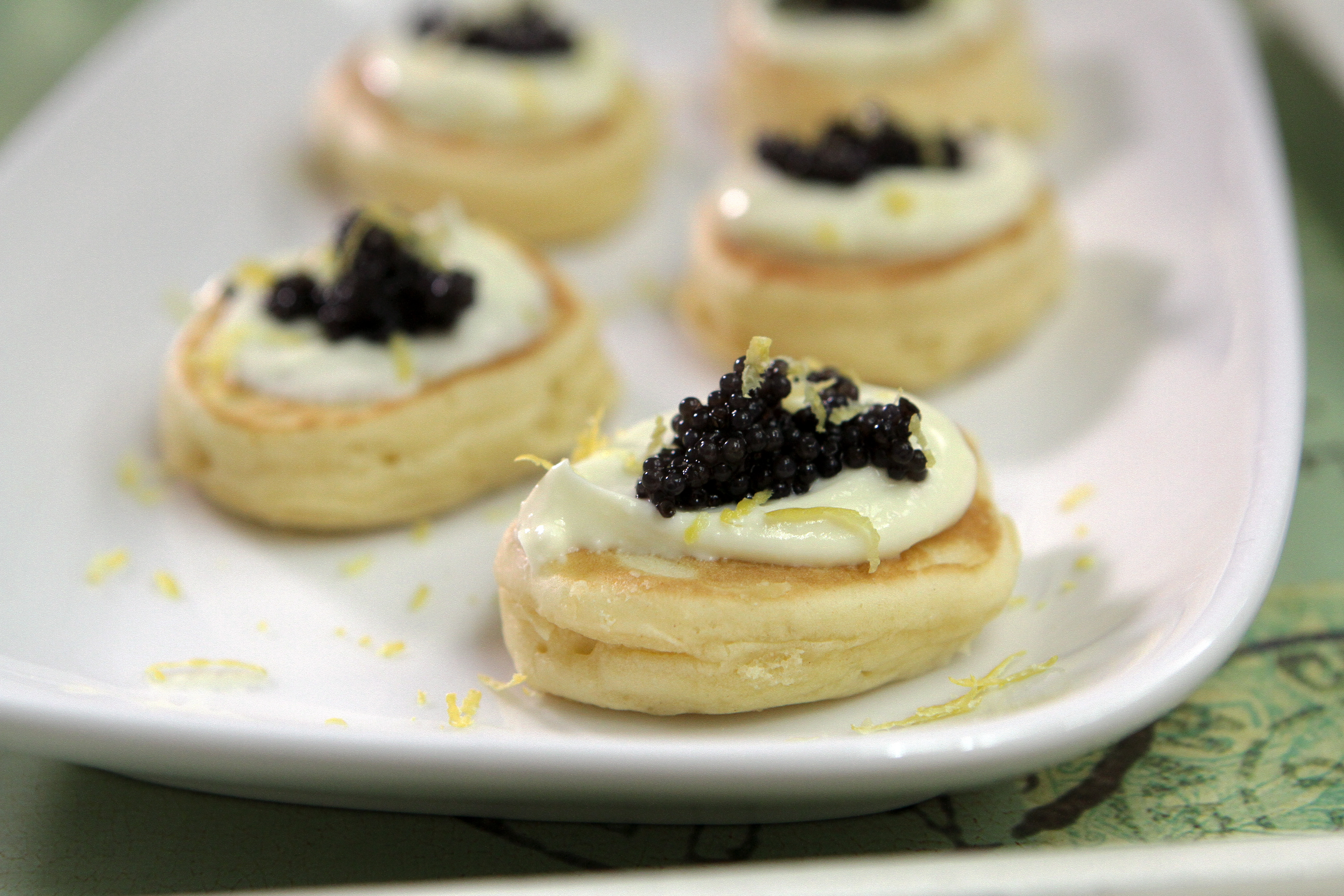 Queen Elizabeth's Drop Scones Topped with Sour Cream and Caviar